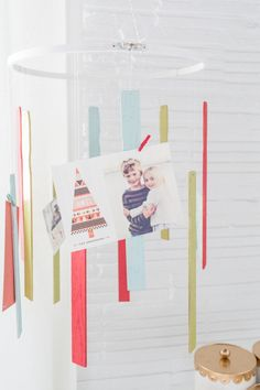 A DIY Holiday card mobile, because everyone needs a place to stash all of their Christmas cards...