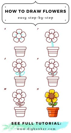 Simple Flower Drawing, Easy Flower Drawings, Easy Drawings, Girly Stuff, Girly Things, Draw Flowers, Step By Step Drawing, Learn To Draw, Grandkids