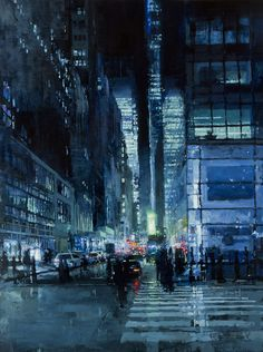 pascal leroi: New York Night In Blue by Jeremy Mann (oil painting) Ville Cyberpunk, New York Night, City Painting, Urban Painting, Urban Landscape, Art Plastique, Painting Inspiration, Design Inspiration, Amazing Art