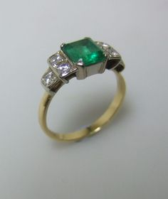 art deco columbian emerald and diamond ring #engagementring #bride