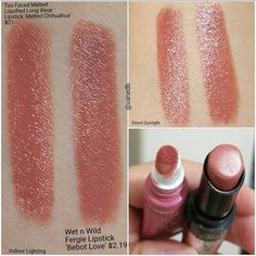 Amazing dupe for Too Faced Melted Chihuahua! Wet n Wild Fergie lipstick in Bebot Love. They are identical!