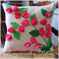 Dollar Store Crafter: Make Your Own Pottery Barn Bougainvillea Branch Pi. Sewing Pillows, Diy Pillows, Decorative Pillows, Throw Pillows, Felt Crafts, Fabric Crafts, Diy And Crafts, Cushion Cover Designs, Pillow Cover Design