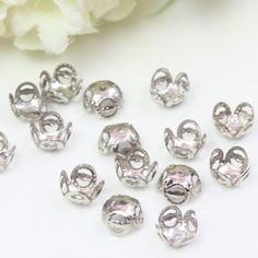8mm Silver Bead Caps, Platinum Bead Caps, Flower Bead Caps, Filigree Bead Caps, 8mm Bead Caps, Small Bead Caps, Floral Bead Caps, 36pcs by TrinketHouse on Etsy