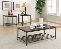 """Nathaniel  3 Piece Table Set  Coffee and 2 End Tables   $299.00   Coffee Table  48"""" x 24"""" x 18"""" H   End Table  22"""" x 22"""" x 23"""" H   C/M 4239"""