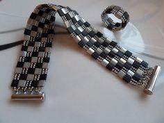 Black & Silver tila & seed beads