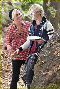 Ross throws a pie on Riker's face when they were filming their music video for Smile. :)