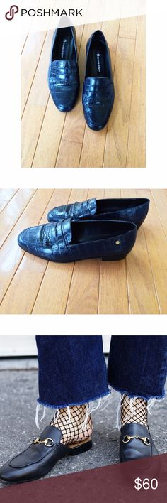 Genuine Leather Loafers in Navy •stylish loafers with croc texture •block heel •wear with mesh or fishnet socks •season must have Shoes Flats & Loafers