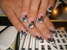 Nail art: black lace on white French tips