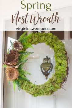 Spring Nest Wreath - Make a wreath for spring with moss, nests, ferns, and a bird as an accent. #springwreath #wreath #springccraft #nestwreath