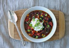 This hearty vegetarian chili is the perfect way to warm up on a cold winter weekend! Plus, one batch will last you all week.