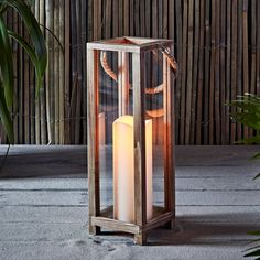 Wooden Battery Operated LED Indoor Flameless Candle Lantern with Rope Handle Indoor Lanterns, Wooden Lanterns, Lanterns Decor, Candle Lanterns, Candle Sconces, Candleholders, Hanging Candles, Led Candles, White Candles