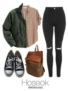 """""""Horseback riding with Hoseok"""" by btsoutfits ❤ liked on Polyvore featuring Studio Moda, Xirena, Carhartt, Topshop and Converse"""