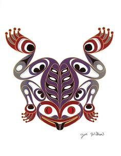"Coast Salish Frog Art Card- Joe Wilson. The Frog ""Wukus"" is known in the Salish tradition as the ""Announcer"". It is the Frog who announces the end of the winter dance season. It is said that as the last snowflakes of the season touch the ground they turn into frogs, and the people then know that it is only another 6 weeks before the salmon will return to the rivers"