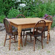 vintage round pine farmhouse table with mix and match vintage