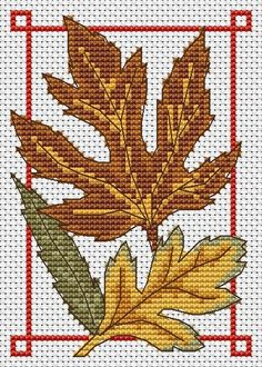 Amanda Gregory cross-stitch design: Autumn leaves free cross stitch chart