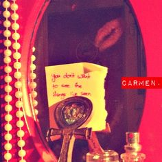 """the boys, the girls, they all like Carmen. she gives them butterflies, bats her cartoon eyes."""