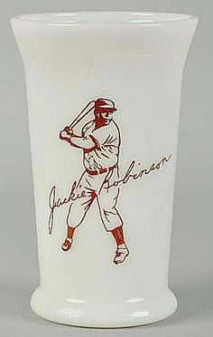 Jackie Robinson Baseball Glass Made of Milk Glass - - Photo Courtesy of Morphy Auctions