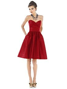 Alfred Sung #red #bridesmaid #dress  mixed with some emerald green dresses for a christmas wedding?!