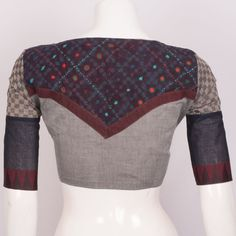 Hand Crafted Cotton Blouse With Lining & Long Sleeve 10015302 - size 38 Sari Design, Choli Blouse Design, Saree Blouse Neck Designs, Patch Work Blouse Designs, Fancy Blouse Designs, Sleeves Designs For Dresses, Stylish Blouse Design, Designer Blouse Patterns, Blouse Models