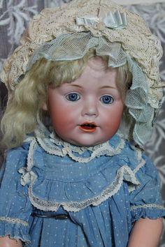 "Adorable 16"" Kestner 247 toddler on a fully jointed Kestner toddler body. Blue sleep eyes, all antique clothing. From Victorian Retreat Antique Dolls. #DollShopsUnited"
