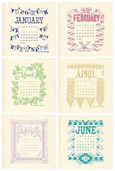 hand screen printed calendar