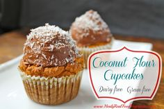 Coconut Flour Cupcakes with Chocolate Frosting (grain-free, dairy-free) - Healy Real Food Vegetarian