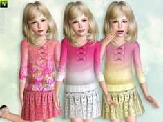 Double-color knit sweater with skirt for girls  Found in TSR Category 'Sims 3 Female Clothing'