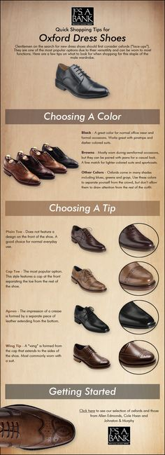 Looking for new dress shoes? Here are a few tips on shopping for Oxfords #infografía