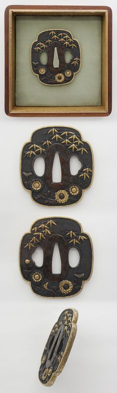 Tsuba: Mumei(Unsigned) Chrysanthemum | Japanese Sword Shop Aoi-Art.
