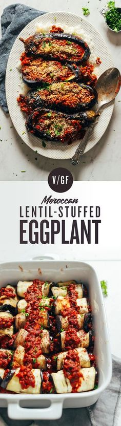 INCREDIBLE Moroccan Lentil-Stuffed Eggplant! 9 ingredients, BIG flavor, so delicious! #vegan #plantbased #eggplant #lentils #recipe #glutenfree #minimalistbaker
