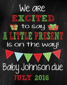 Pregnancy Announcement Card - Christmas - 8x10 to 16x20 in size    In the Note to Seller upon check out of your order please include all the