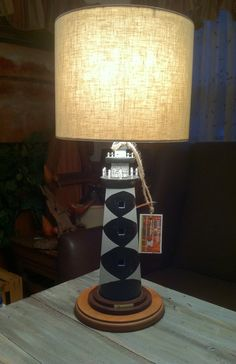 "Lighthouse Table Lamp.  I just finished this wonderful Lighthouse table lamp.  Measures 24"" H.  $59  Available at:  An Owl's Bazaar, Satellite Beach, Fl 32937  Thanks for lookin' :)  SORRY, SOLD!!"