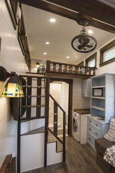 """There is a ton of storage space between the dresser, storage stairs, 12"""" cabinets behind the master bed, and cabinets in the bathroom."""