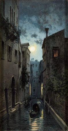 Natale Gavagnin,  1851 Venedig - 1926 Venedig Zwei Gouachen. Venedig Nocturne. Signiert. Je 40 x 21 cm