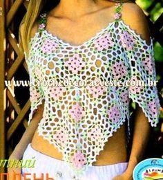 crochelinhasagulhas: Blusa com square colorido em crochê