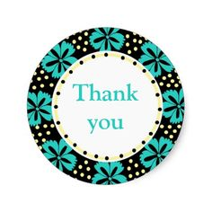 Teal Floral Polka Dots:Thank You Stickers