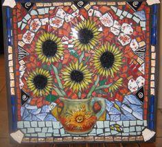 Sara's Sunflowers Mosaic Backsplash www.barefootintheglass.com