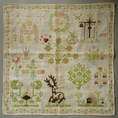 I love the gentle pastels the artist used to create this sweet Dutch sampler.It shows an Edenic paradise full of birds,flowers,trees in bloom,& a magnificent stag,who lies comfortably at rest in this lovely wood. Embroidered in silk,on linen,it may be late 1790's,early 1800's.CIRCA 1800 EXQUISITE DUTCH ANTIQUE SAMPLER SILK COLORFUL SAMPLER