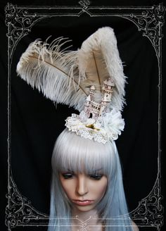 Fairytale Castle Headdress ( fascinator, wedding, bride, white , Gothic Lolita )