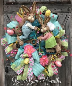 Spring Wreath, Spring Decor, Spring Door, Bunny Wreath, Bunny Swag, Bunny Decor, Easter Wreath, Easter Swag, Easter Decor Bunny Trail~ Mr & Mrs Bunny are a delightful sight~ everybody will SMILE and giggle for a while. Made wild & outside the box thinking~ you will love this if you like