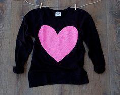 Valentines Day Shirt Red Sequin Heart Sweatshirt by ICaughtTheSun