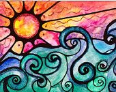 Sunview sunset sun art print painting beach waves ocean art  print water beach painting waves print sunrise art