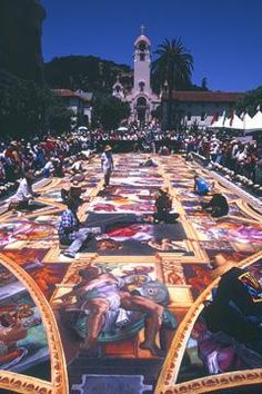Street painting by Traci Lee Stum - recreation of Michelangelo's 'Sistine Chapel' ceiling at the Youth In Arts Street Painting Festival, 2003.