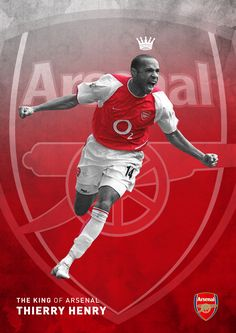 Soberstone works. Soccer. England. English Premier League. Arsenal. King. Thierry Henry Poster. Illustration.