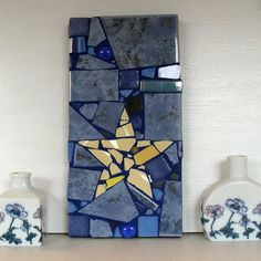 Yellow Star  Yellow and Blue Mosaic Panel with by michelewebber, £27.00