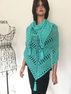 Hand Knits 2 Love Cotton Triangle Shawl Aqua Blue Designer Fashion Spring Summer #AquaRobinBlue #ShawlWrap