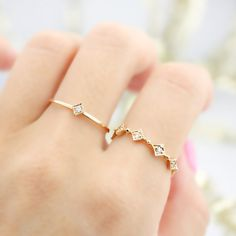 Single diamond star ring 14k yellow gold thin by EnveroJewelry