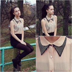 studded collar sleeveless blouse