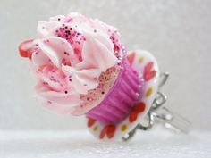 Cupcake Ring Strawberry Hearts Polymer Clay by GiraffesKiss