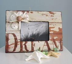 Shell Frame for Beach Decor --  Nautical Decor Seashell Frame w Starfish, DREAM 5x7. $30.00, via Etsy.